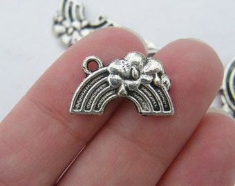 BULK 30 Rainbow pendants antique silver tone S55