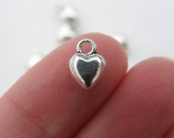 10 Heart charms tibetan silver H17
