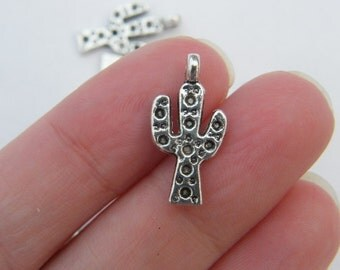 BULK 50 Cactus charms antique silver tone L114