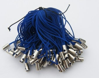 20 Cell phone straps or cords 50mm dark blue and silver