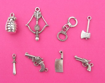 The Action Collection - 8 different antique silver tone charms
