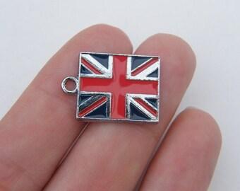 2 United Kingdom flag charms silver tone WT83