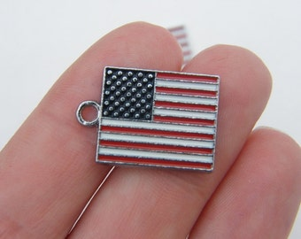 BULK 10 United States flag charms silver tone WT84 - SALE 50% OFF