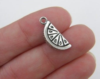 BULK 20 Lemon wedge charms antique silver tone FD210