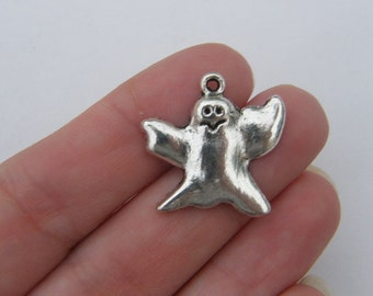 BULK 30 Ghost charms antique silver tone HC147