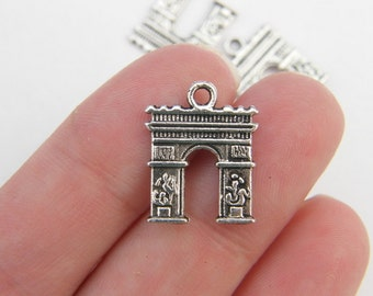 6 Arc de Triomphe charms antique silver tone WT29