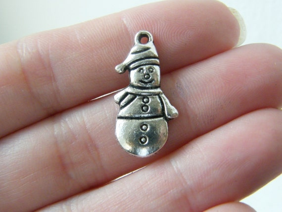 10 Snowman charms antique silver tone SF47