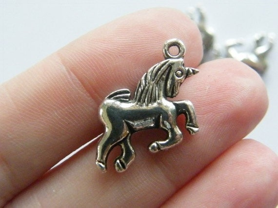 6 Unicorn charms ( double sided ) 18 x 17mm tibetan silver ( FREE combined shipping )