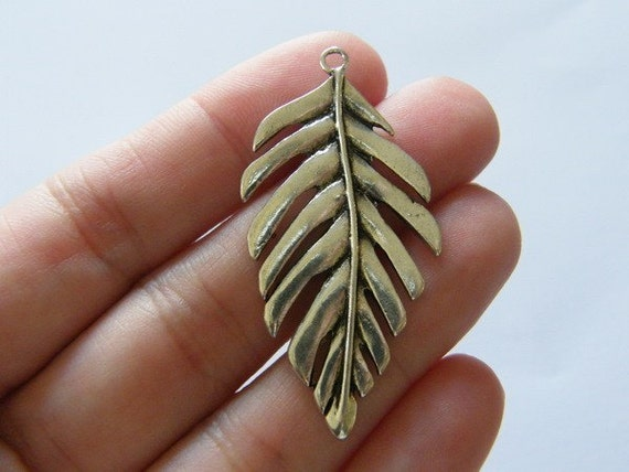 2 Leaf  pendants 48 x 24mm antique silver tone