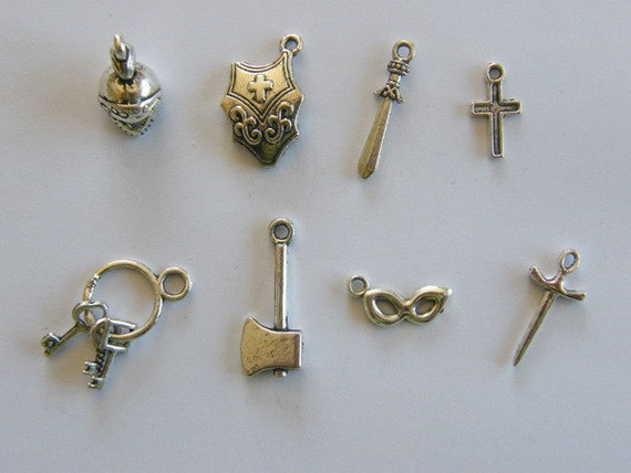 The Medieval Collection - 8 different antique silver tone charms