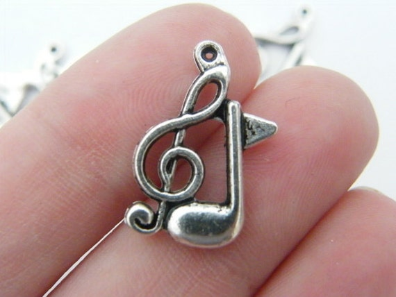 8 Double music note charms 21 x 14mm tibetan silver MN2