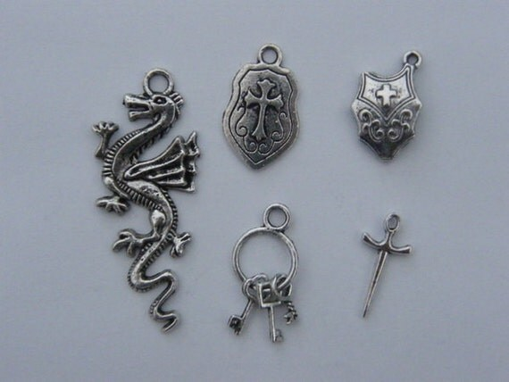 The Medieval Charms Collection - 5 different antique silver tone