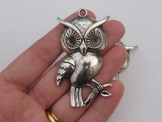 1 Owl pendant 62 x 32mm antique silver tone ( FREE combined shipping )