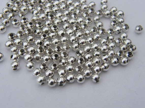 200 Spacer beads 4mm silver plated