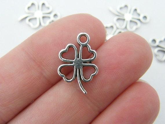 10 Four leaf clover charms antique silver tone L92