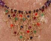 Scalloped Amethyst necklace/wirework/Indian/Anniversary/Birthday