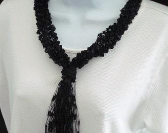 Necklace Scarf, Knit of Black on Black Ladder Trellis Type Yarn