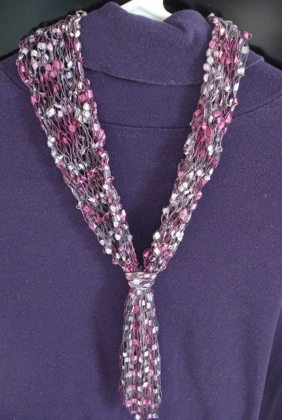 Necklace Scarf Knit Of Airy Ladder Type Yarn In By Lovenyarn