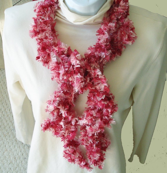 Strawberry Delight Extra- long  Ruffled Scarf to Wrap Twist and Knot 25% OFF SALE
