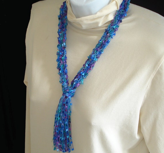 Handknit Necklace Scarf of  Bright and Beautiful Ladder Yarn