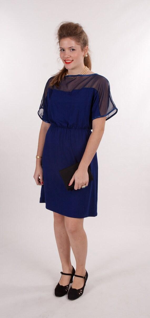 Retro elegant royal blue party dress