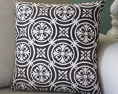 black & white medallion print 16x16 pillow cover - beautiful on both sides