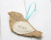 wordy bird ornament, wish