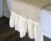 ruffled farmhouse table runner 56 inches long