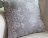 grey henna print 16x16 pillow cover - beautiful on both sides