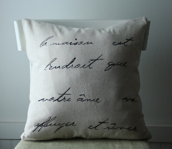 BLACK FRIDAY SALE - French script pillow cover