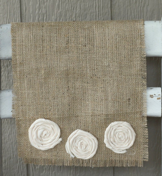 flower farmhouse burlap table runner - 72 inches