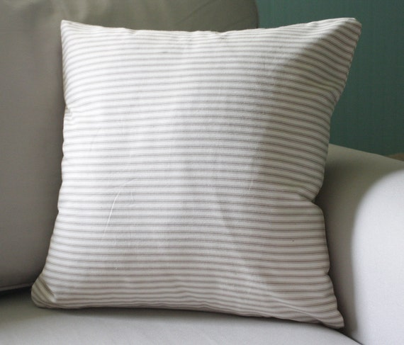 french inspired pillow cover, tan and cream- 18x18 - beautiful on both sides