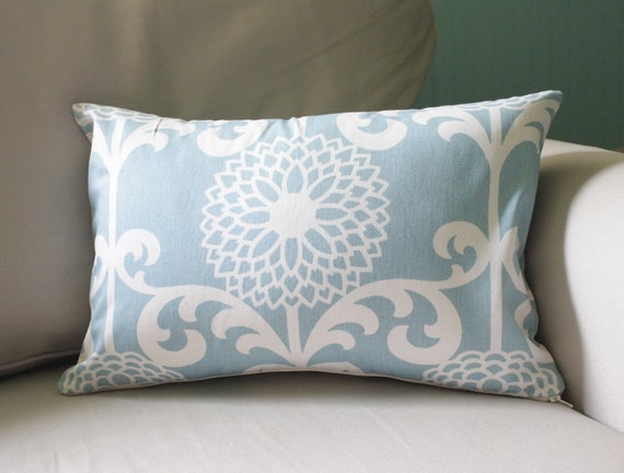 beachy floral lumbar pillow cover - 16x13 - beautiful on both sides - LIMITED EDITION