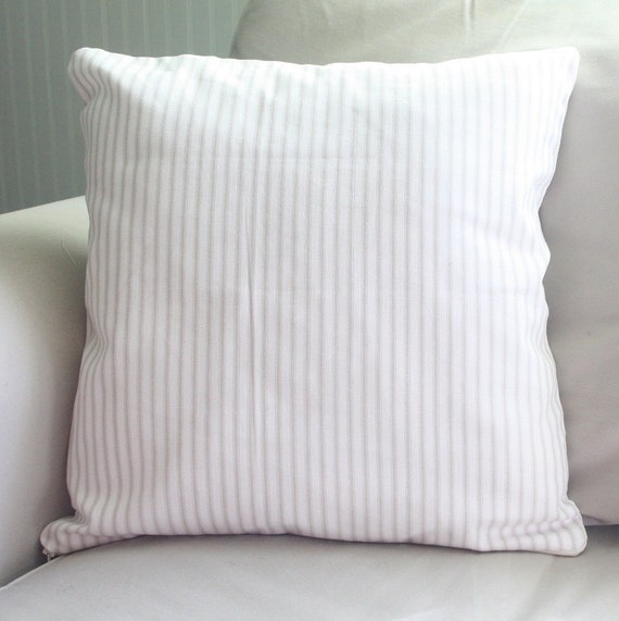 french inspired shabby and chic putty and white ticking 16x16 pillow cover