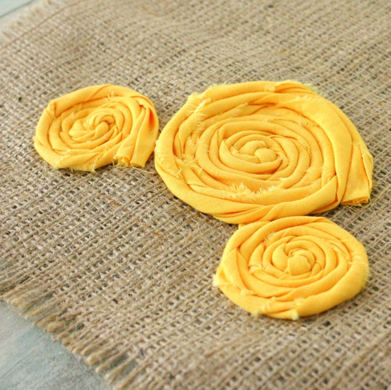 Mellow Yellow florette farmhouse style table runner - 48 inches long