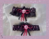 Black and Pink  Polka Dot Flirty and Sexy Garter Set BB  ((SALE))