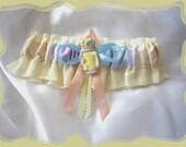 Multi Colored Pastel Keepsake Golf Bag Wedding Garter ((SALE))