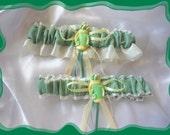 Golf Bag Calico Pastel Wedding Garter Set  ((SALE))