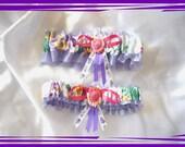 Pastel Lavender Pansy Floral Garter Set ((SALE))
