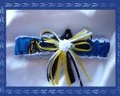 White Satin Wedding Garter Toss Made with Pittsburgh University Fabric ~~SALE~~