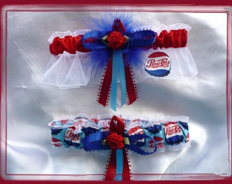 Handmade White Organza Garter Set Made with Pepsi Cola Fabric RB