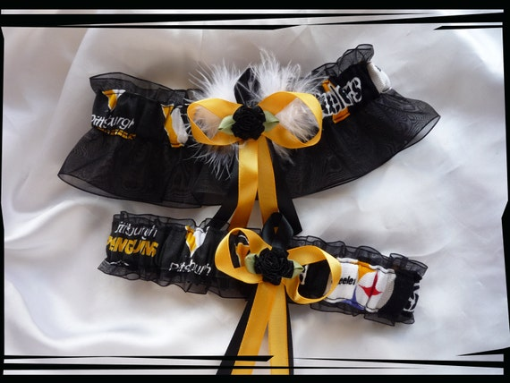 Black Organza Fabric Wedding Garter Set Made w Steelers and Penguins Fabric WB
