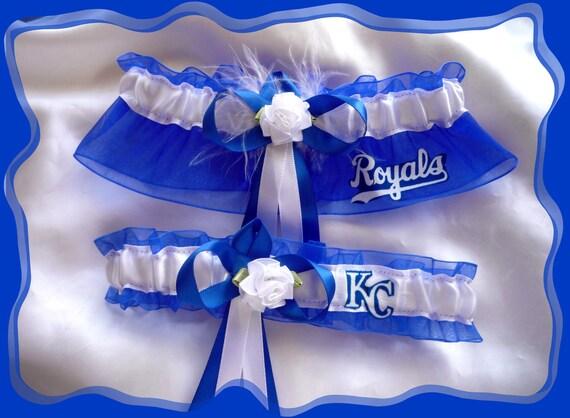 Royal Blue Organza Wedding Garter Set Made with Kansas City Royals Fabric WB