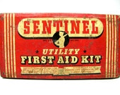Weekend Sale - Take 20% Off At Checkout - Vintatge SENTINEL Utility First Aid Kit METAL BOX - Great Color