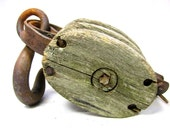Clearance Sale - Take 50% Off At Checkout - Weathered DOUBLE PULLEY - Wood and Metal - Great Look