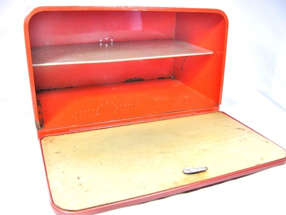 Large Red Vintage Bread Box With Shelf