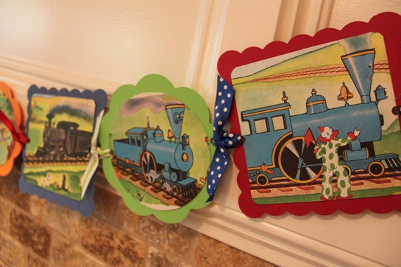 PERSONALIZED VINTAGE TRAIN Toys Baby Shower Birthday Party Banner
