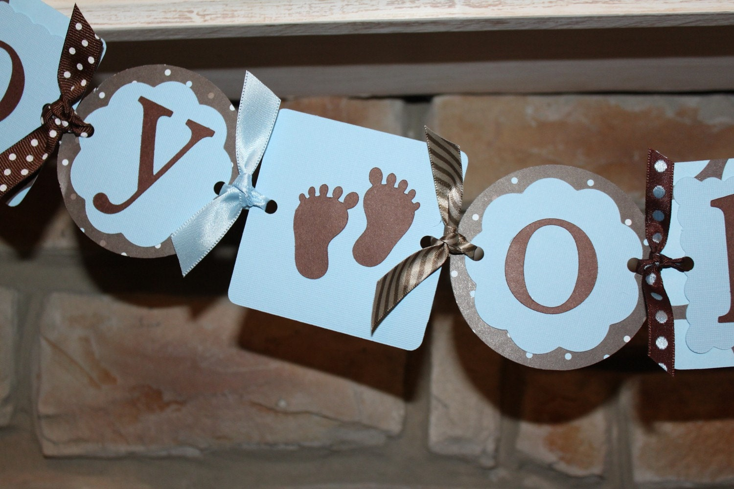 boy oh boy blue and brown baby shower banner by spoiledmamastudio