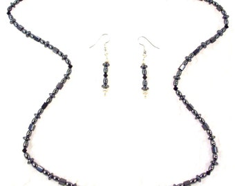 Handmade Magnetic Jet Black crystals and Hemalyke bead Necklace and Earrings