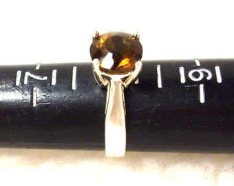Sterling Silver and Brown Ring /9mm Round Natural Cognac Quartz Stone Size 8